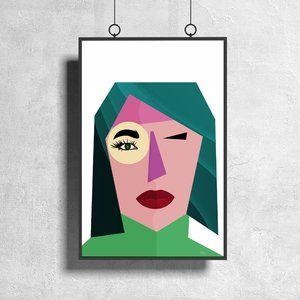 Profile of Woman Minimalist Art Cubism